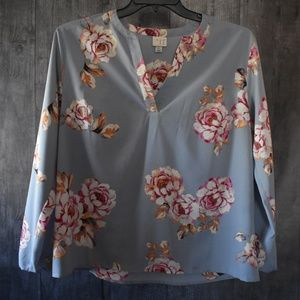 A New Day Floral Print Long Sleeve Blouse XL